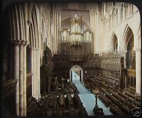 HAND COLOURED Glass Magic Lantern Slide RIPON CATHEDRAL LOOKING W C1890 ENGLAND