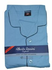 Alberto Rossini Mens Rich Cotton Nightwear Pyjama Set Long Sleeve Top & Trouser Sky Blue X Large