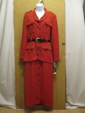 NWT Sag Harbor Red Button Down Long Sleeve Coat Dress Womens Size 8