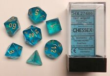 Chessex 7 Dice Set Borealis Teal w/ Gold CHX 27486 for D&D & D20