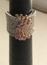 Sonia Bitton Sterling Silver With Rose Tone Accents Ring With White CZ's Size 7