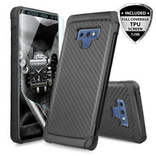 For Samsung Galaxy Note 9 Case Carbon Fiber Armor Cover+Full Coverage TPU Screen