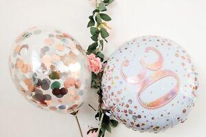 Rose Gold Balloon Bouquet Hello 30 40 50 Birthday Decor Age Foil Silver Confetti