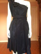 Prada One-shoulder bow-embellished silk-faille dress Size 40