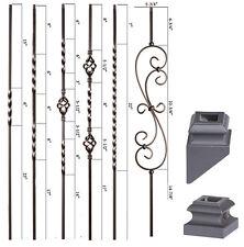 Satin Black - Twist & Basket Iron Balusters - HOLLOW Wrought Iron - Stair Parts