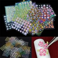 50 Sheets 3D Flower Tips Nail Art Transfer Stickers Decals Manicure Decor Lots