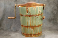 "Vintage Wood Ice Cream Maker #4 Crank Handle Blue 13.5"" H, 11"" Diameter"