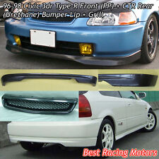TR Style Front Lip (PU) + CTR Rear Lip (PU) + Grill (ABS) Fit 96-98 Civic 3dr