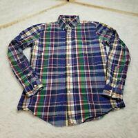 Ralph Lauren Mens Button Shirt Small S Blue Green White Red Plaid LS Multicolor