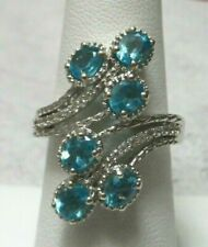 PARAIBA APATITE WHITE ZIRCON RING Sterling Silver Platinum Overlay Size 7
