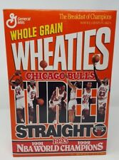 1993 WHEATIES CEREAL 18 OZ CHICAGO BULLS 3 STRAIGHT! NBA WORLD CHAMPIONS MINTBOX