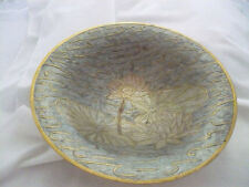 Made in India solid brass bowl with pastel enamel design of water lilies