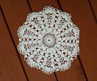 Vintage Doilie Doily White Hand Crochet 13 1/2 inch round Handmade