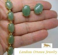 14 ct  Green Jade  Earrings & Bracelet Set