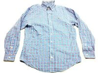 Vineyard Vine Mens Blue Plaid Long Sleeve Button Front Whale Shirt Size Small