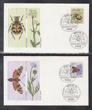 LA 357 ) 4 beautiful FDC Berlin 1984 - Insects, beetles, butterflies, bees, flow