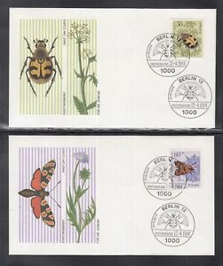 4 beautiful FDC Berlin 1984 - Insects, beetles, butterflies, bees, flow