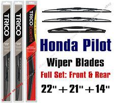 Honda Pilot 2009-2015 Wiper Blades 3pk Standard Front & Rear 30221/30210/14F