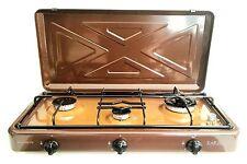 Fornello a gas cucina da campeggio marrone GPL metano 3 fuochi cucina portatile