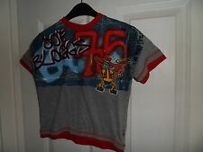 Joe Bloggs,t.shirt age 5/6,grey/red with patterned on the front and back cotton+