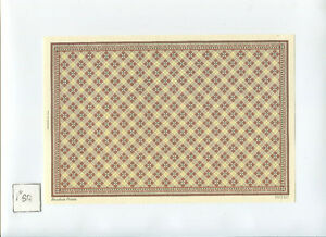 Floor w/ border HVT307 wallpaper Half Scale 1/24 Scale 1pc dollhouse.