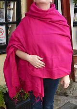 Chaud snug soft YAK laine style népalais de l'Himalaya couverture / grand châle: hot pink