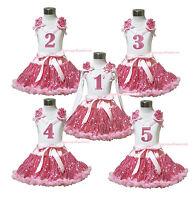 1ST 2ND 3RD 4TH Birthday White Top Girls Aqua Blue Gold Khaki Skirt Outfit 1-8Y