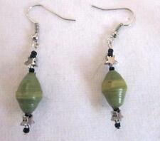 "Drop Dangle 2 "" Earrings Sage Green Recycled Paper Bead Black Stars Silver Wire"