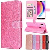 For Huawei P20 7S/P Smart Bling Glitter Sparkly Leather Wallet Flip Case Cover