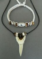 LARGE REPLICA SHARK TOOTH NECKLACE BRACELET GIFT SET wood bone  approx 2cm long