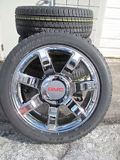 """22"""" NEW GMC FITMENT ESCALADE FACTORY STYLE CHROME WHEELS 5309 TIRES 285-45-22"""