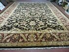 11' X 15' Vintage Hand knotted Indian Agra Wool Rug Hand Made Dark Brown Floral