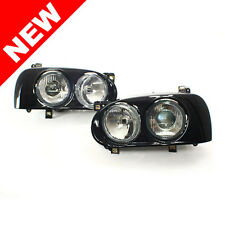 VW MK3 GOLF/GTI HELLA STYLE DUAL ROUND PROJECTOR HEADLIGHTS W/ BLACK FRAMES