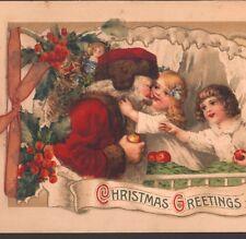 RARE..! CHRISTMAS BOOKLET..SANTA GETS HUGS FROM CHILDREN,APPLES,WINSCH,POSTCARD