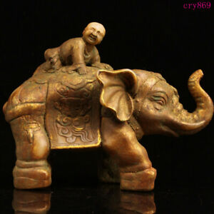 "10.4""collection old China antique Natural jade Gilding elephant boy statue"
