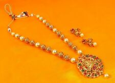 Indian Necklace Temple Jewelry Gold Plated South Traditional Ethnic Women Set