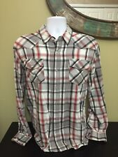 Mens Levis Western Pearl Snap Plaid Size Large 100% Cotton Free Shipping (5A)