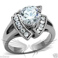Brilliant 2ct Round Cut Cubic Zircon CZ AAA Engagement Ring 5 6 7 8 9 10 TK2040