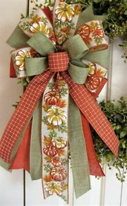 FALL PUMPKIN BOW for DOOR WREATH SWAG GARLAND MAIL FENCE POST # 29 rb