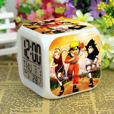 Hot Anime Naruto LED Digital Alarm Clock 7Color Change Thermometer Calendar+Time