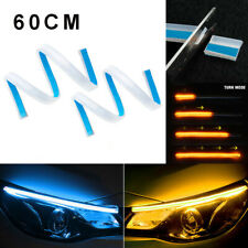 2x 60CM Amber Blue LED Car DRL Daytime Running Strip Light Flexible Soft Tube
