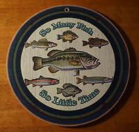 Bass Fishing Cabin Sign Fisherman Lodge Home Decor Rustic Primitive Style Wood