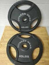 45lb Olympic Weight Plates Pair-Two Plates 90lbs Total- BRAND NEW FITNESS GEAR!