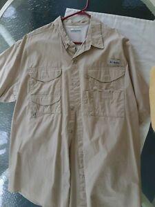 Columbia Sportswear Size XXL Men's Short Sleeve Light Tan Outdoors Shirt