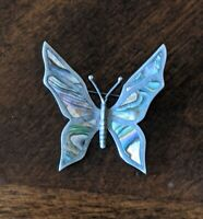 Vintage TAXCO Mexico 925 Sterling Silver Abalone Inlay Butterfly Brooch Pin