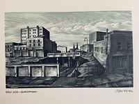 1975 Hand Signed John DePol Wood Engraving West-Side Manhattan Ltd Ed