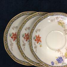 """Theodore Haviland Limoges Ganga Floral Basket Set of 3 Saucers 5 1/2"""" Vintage"""