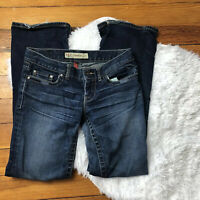 Women's BKE Denim Buckle Sabrina Stretch Boot Leg Jeans Dark Wash 26 X 30