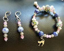 Pretty Pink, Blue,and Pink Cat Charmed Beaded Bracelet and Earring Set Fits All