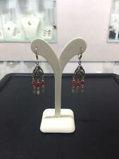 New Sterling Silver Yemenite Filigree Goldfilled Beads Red Garnet Drop Earrings